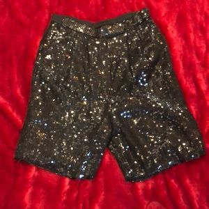 VINTAGE BLACK SEQUIN SHORTS